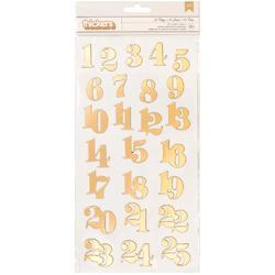 25 Days Gold Numbers Thickers Stickers 25/Pkg