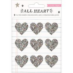 All Heart Acrylic Stickers 9/Pkg