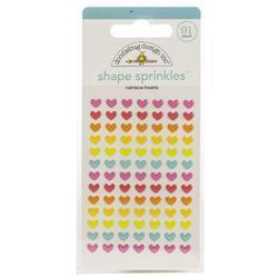 Sprinkles Adhesive Glossy Enamel Shapes Rainbow Hearts , 91/Pkg
