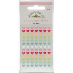 Sprinkles Adhesive Glossy Enamel Shapes Tiny Hearts, 98/Pkg