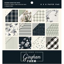 "Gingham Farm Double-Sided Paper Pad 6""X6"" 24/Pkg"