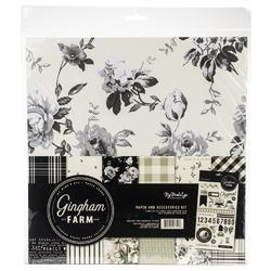 "Gingham Farm Paper & Accessories Kit 12""X12"""