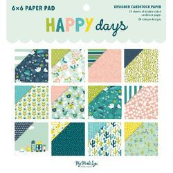 "Happy Days Double-Sided Paper Pad 6""X6"" 24/Pkg"
