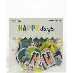 Happy Days Mixed Bag Cardstock Die-Cuts 60/Pkg - 1