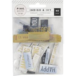 Indigo & Ivy Ephemera Chipboard & Acetate Die-Cuts Phrase W/Gold Foil Accents 40/Pkg