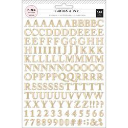 Indigo & Ivy Puffy Stickers Alphabet W/Gold Foil