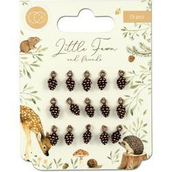 Little Fawns & Friends Copper Pine Cones Metal Charms 15/Pkg