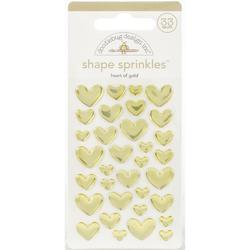 Sprinkles Adhesive Glossy Enamel Shapes Heart of Gold 33/Pkg