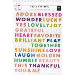 Truly Grateful Puffy Word Stickers 142/Pkg - 1
