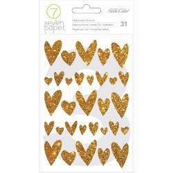 Amelia Gold Hearts Glitter Chipboard Stickers