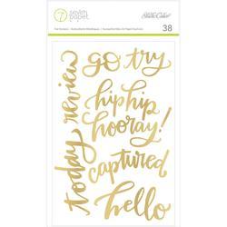 "Amelia Gold Phrases Foil Stickers 4""x6"""