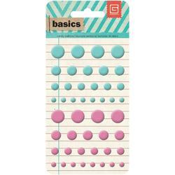 Basics Candy Buttons Epoxy Stickers Aqua/Pink