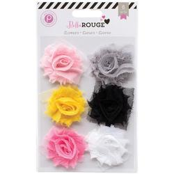 Bella Rouge Frayed Chiffon Flowers 6 pkg - 1