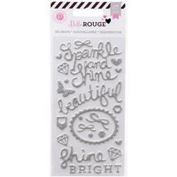 Bella Rouge Puffy Silver Glitter Stickers - 1
