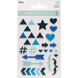 Blues Necessities Adhesive Enamel Shapes 30 pkg