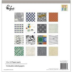 """Boys Fort Double-Sided Paper Pack 12""""X12"""" 16/Pkg"""