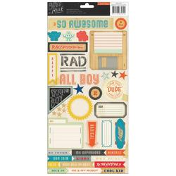 """Boys Rule Cardstock Stickers 6""""x12"""" 2 Sheets"""