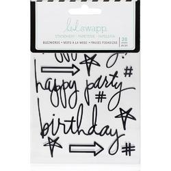 "Buzz Words Birthday Black Epoxy Stickers 4""X6"" - 1"