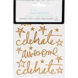 "Buzz Words Celebrate Gold Foil Epoxy Stickers 4""X6"" - 1"