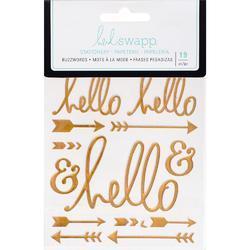 "Buzz Words Hello Gold Foil Epoxy Stickers 4""X6"" - 1"