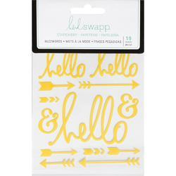 "Buzz Words Hello Yellow Epoxy Stickers 4""X6"""