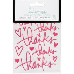 "Buzz Words Thanks Dark Pink Epoxy Stickers 4""X6"" - 1"