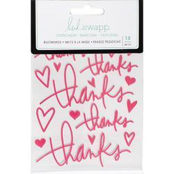 "Buzz Words Thanks Dark Pink Epoxy Stickers 4""X6"" - 1"