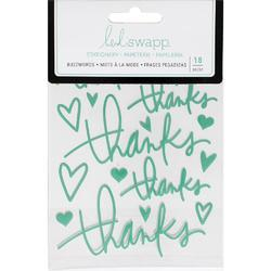 "Buzz Words Thanks Teal Epoxy Stickers 4""X6"" - 1"