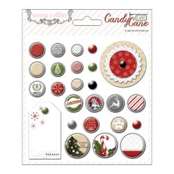 Candy Cane Lane Decorative Brads 25 pkg