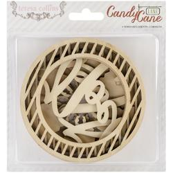 Candy Cane Lane Ornaments Laser-Cut Wooden Shapes 6 pkg - 1