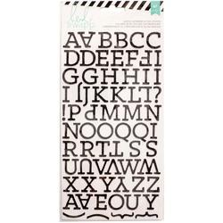 Chipboard Alphabet Black Glitter