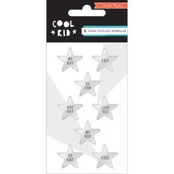 Cool Kid Stars/Metallic Silver Resin Embellishments 8/Pkg