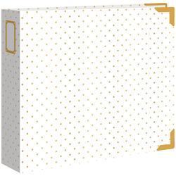 "Cream W/Gold Foil Dots Leather D-Ring Album 12""x12"" - 1"