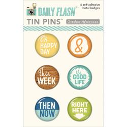 Daily Flash Good Day Tin Pins Adhesive Metal Badges