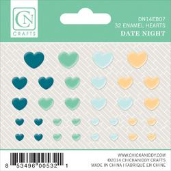 Date Night Self-Adhesive Enamel Hearts 32 pkg