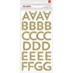 Deck The Halls Chestnut Alpha wGold Glitter Remarks Transparent Stickers