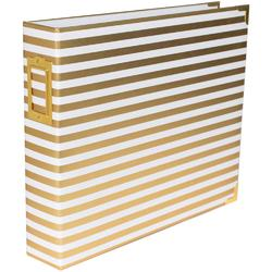 "Desktop Gold Stripes Glossy D-Ring Album 12""x12"" - 1"