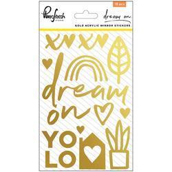 "Dream On Acrylic Mirror Stickers Gold 4""X6"""