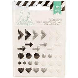 Enamel Shapes – Black Glitter