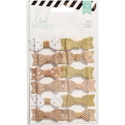 Fabric Bows - Gold/White