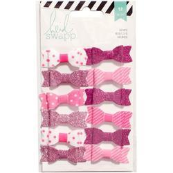 Fabric Bows - Pink/White