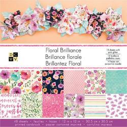 "Floral Brilliance Single-Sided Paper Stack 12""x12"" w/Pink Glitter"