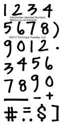 Handwritten by Ali Edwards, Numbers Medium
