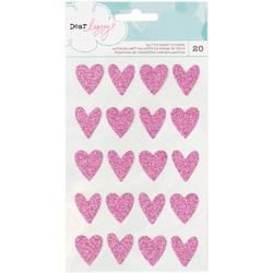 Happy Place Pink Hearts Glitter Stickers
