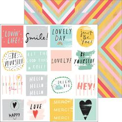"Happy Things Happy Words/Rustic Double-Sided Cardstock 12""x12"" - 1"