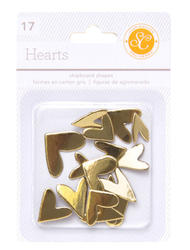 Hearts Gold  Chipboard Shapes 17 pkg - 1