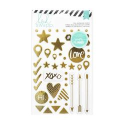 Hello Beautiful Gold Shapes Foil Chipboard Stickers