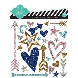 Hello Today Silver Shapes Puffy Glitter Stickers
