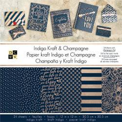 "Indigo Kraft & Champagne Single-Sided Paper Stack 12""x12"" w/Gold Foil"