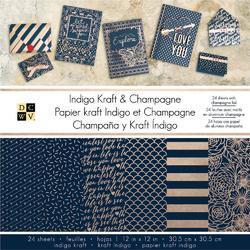 "Indigo Kraft & Champagne Single-Sided Paper Stack 12""x12"" w/Gold Foil"